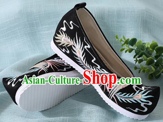 Chinese Handmade Embroidered Bird Black Shoes Traditional Wedding Shoes Hanfu Shoes Princess Shoes for Women
