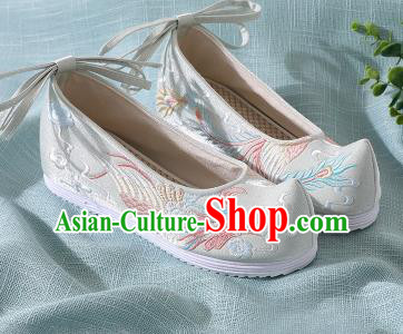 Chinese Handmade Embroidered Bird Light Green Shoes Traditional Wedding Shoes Hanfu Shoes Princess Shoes for Women