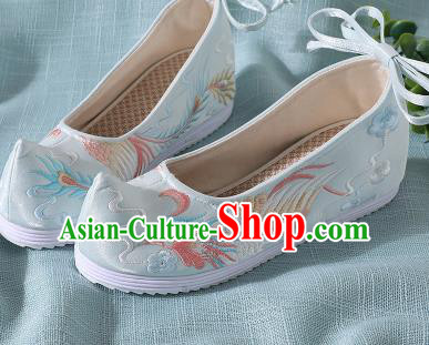 Chinese Handmade Embroidered Bird Light Blue Shoes Traditional Wedding Shoes Hanfu Shoes Princess Shoes for Women