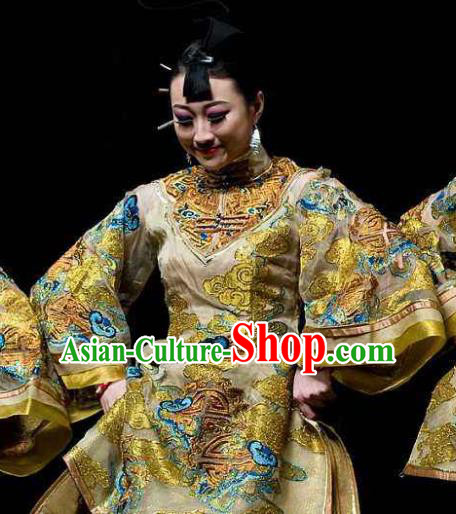 Chinese Dance Drama Wild Jujubes Classical Dance Golden Dress Stage Performance Dance Costume and Headpiece for Women
