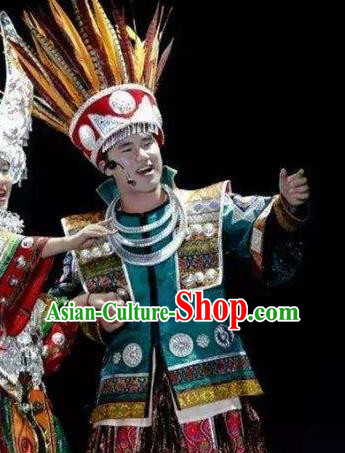 Chinese Dance Drama Colorful Guizhou Yi Nationality Bridegroom Clothing Stage Performance Dance Costume for Men