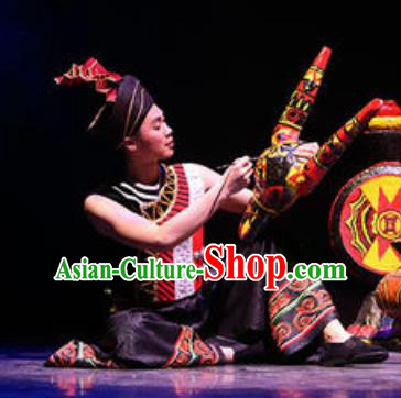 Chinese Drama Colorful Guizhou Yi Nationality Folk Dance Clothing Stage Performance Dance Costume for Men