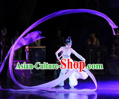 Chinese Chuansi Gongzhu Classical Dance Dress Ancient Silk Princess Stage Performance Dance Costume and Headpiece for Women