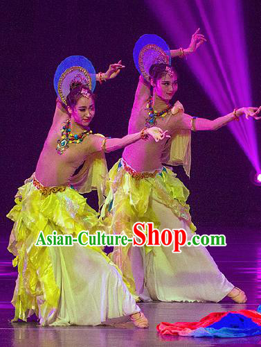 Dance Between Heaven and Earth Chinese Classical Dance Yellow Dress Stage Performance Dance Costume and Headpiece for Women