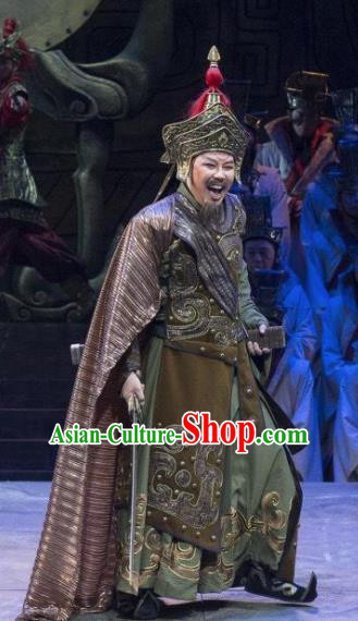 Chinese King Zhuang of Chu Ancient Spring and Autumn Period General Clothing Stage Performance Dance Costume for Men