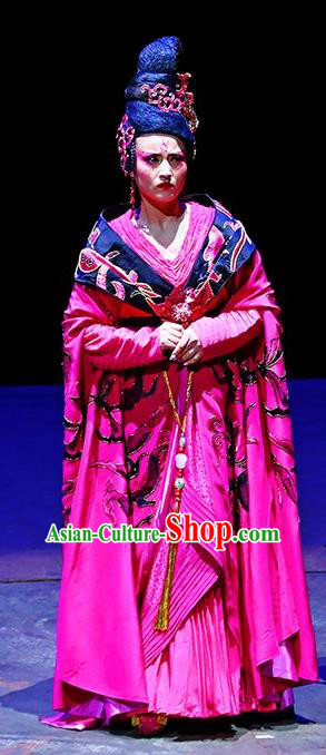 Chinese King Zhuang of Chu Ancient Spring and Autumn Period Imperial Consort Rosy Dress Stage Performance Dance Costume and Headpiece for Women