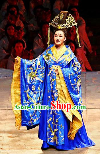 Chinese King Zhuang of Chu Ancient Royal Queen Blue Dress Stage Performance Dance Costume and Headpiece for Women