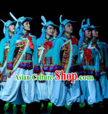 Walking Marriage Chinese Mosuo Nationality Dance Clothing Stage Performance Dance Costume for Men