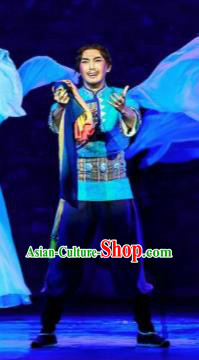 Walking Marriage Chinese Mosuo Nationality Bridegroom Dance Blue Clothing Stage Performance Dance Costume for Men