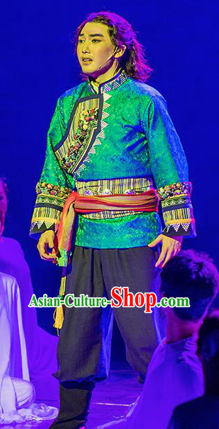 Walking Marriage Chinese Mosuo Nationality Green Clothing Stage Performance Dance Costume for Men