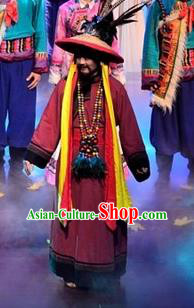 Walking Marriage Chinese Mosuo Nationality Chieftain Clothing Stage Performance Dance Costume for Men