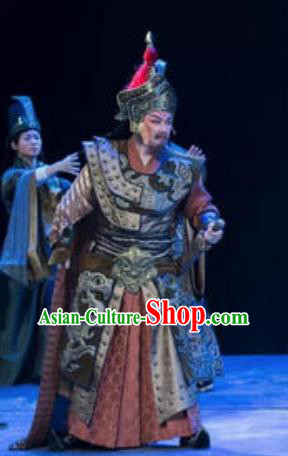 Chinese King Zhuang of Chu Ancient Spring and Autumn Period General Body Armor Stage Performance Dance Costume for Men