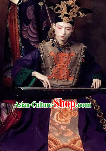 Chinese Pingtan Impression Ancient Qing Dynasty Purple Dress Stage Performance Dance Costume and Headpiece for Women