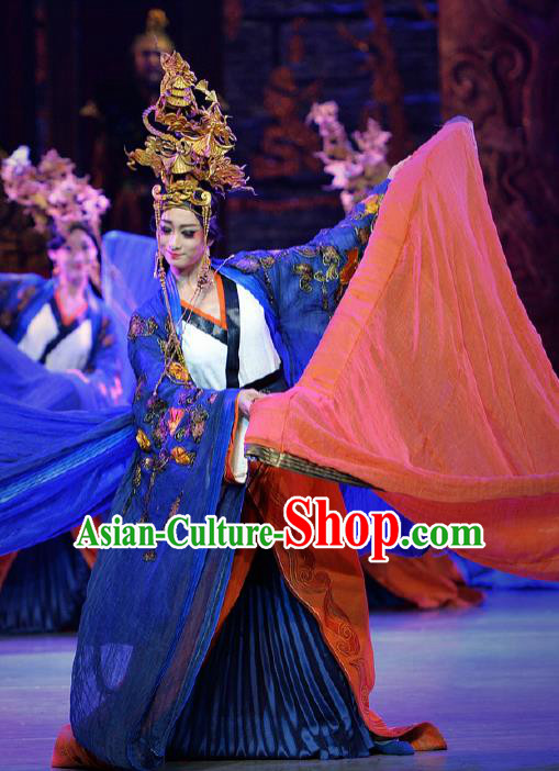 Chinese Lady Zhaojun Ancient Imperial Consort Dance Blue Dress Stage Performance Dance Costume and Headpiece for Women