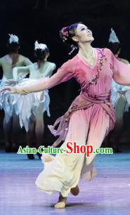 Su Dongpo in Hainan Chinese Classical Dance Pink Dress Stage Performance Dance Costume and Headpiece for Women