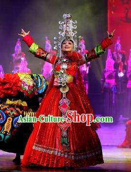 Impression Shanha Chinese She Nationality Bride Dance Red Dress Stage Performance Dance Costume and Headpiece for Women