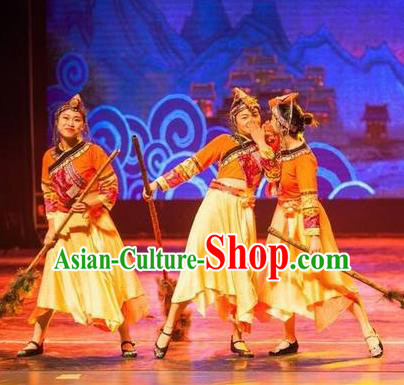 Impression Shanha Chinese She Nationality Folk Dance Yellow Dress Stage Performance Dance Costume and Headpiece for Women