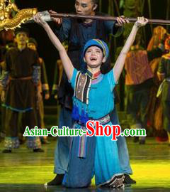 Impression Shanha Chinese She Nationality Blue Clothing Stage Performance Dance Costume for Men