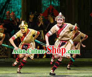 Impression Shanha Chinese She Nationality Folk Dance Khaki Dress Stage Performance Dance Costume and Headpiece for Women