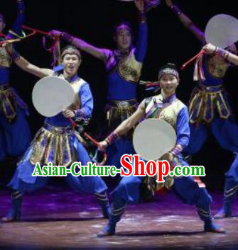 Manchu Tambourine Chinese Manchu Nationality Dance Blue Clothing Stage Performance Dance Costume for Men