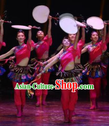 Manchu Tambourine Chinese Manchu Nationality Folk Dance Dress Stage Performance Dance Costume and Headpiece for Women