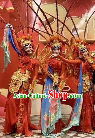 The Greatest Spirit Chinese Peking Opera Red Dress Stage Performance Dance Costume and Headpiece for Women