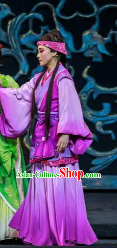 Xiao Qiao Marriage Chinese Peking Opera Purple Dress Stage Performance Dance Costume and Headpiece for Women
