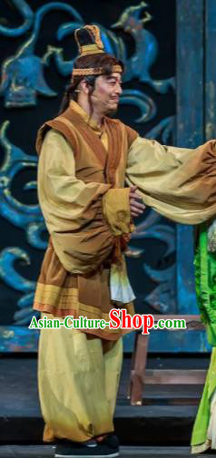 Xiao Qiao Marriage Chinese Peking Opera Khaki Clothing Stage Performance Dance Costume and Headpiece for Men