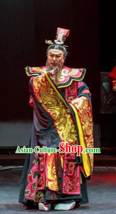 Xiao Qiao Marriage Chinese Peking Opera Prime Minister Cao Cao Red Clothing Stage Performance Dance Costume and Headpiece for Men