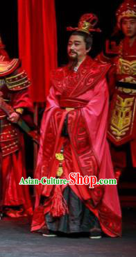 Xiao Qiao Marriage Chinese Peking Opera Minister Red Clothing Stage Performance Dance Costume and Headpiece for Men