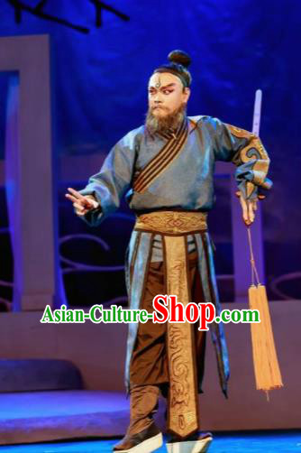 Chinese Peking Opera Lanruo Temple Taoist Priest Clothing Stage Performance Dance Costume and Headpiece for Men