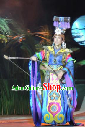 Rainbow Tribe Chinese Tu Minority Blue Dress Stage Performance Dance Costume and Headpiece for Women