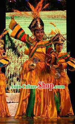 Rainbow Tribe Chinese Tu Minority Yellow Dress Stage Performance Dance Costume and Headpiece for Women