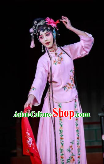 Xi Jiao Chinese Peking Opera Diva Pink Dress Stage Performance Dance Costume and Headpiece for Women