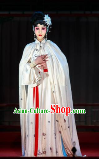 Xi Jiao Chinese Peking Opera Diva White Dress Stage Performance Dance Costume and Headpiece for Women
