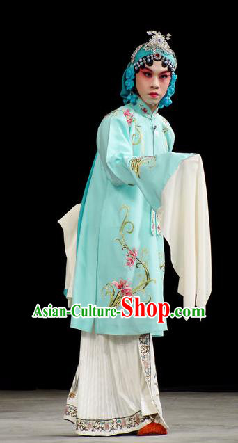 Han Consort Ming Chinese Peking Opera Palace Lady Blue Dress Stage Performance Dance Costume and Headpiece for Women