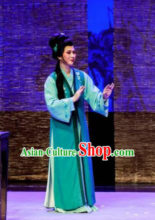 Phoenix Hairpin Chinese Peking Opera Diva Green Dress Stage Performance Dance Costume and Headpiece for Women