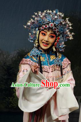 Imperial Concubine Mei Chinese Peking Opera Diva Pink Dress Stage Performance Dance Costume and Headpiece for Women