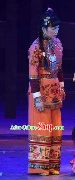 Huang Si Jie Chinese Tujia Minority Orange Dress Stage Performance Dance Costume and Headpiece for Women