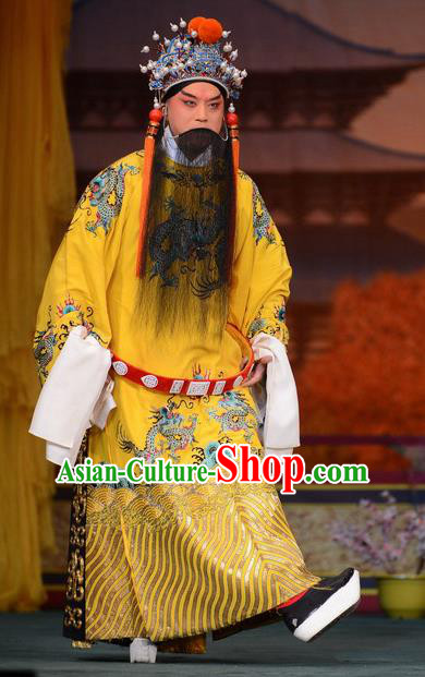 Imperial Concubine Mei Chinese Peking Opera Emperor Yellow Clothing Stage Performance Dance Costume and Headpiece for Men