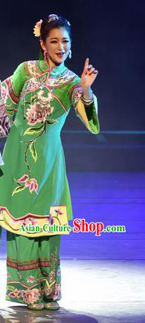 Huang Si Jie Chinese Tujia Minority Green Dress Stage Performance Dance Costume and Headpiece for Women
