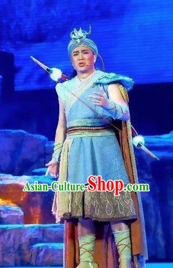 Huang Si Jie Chinese Tujia Minority Hunter Blue Clothing Stage Performance Dance Costume and Headpiece for Men