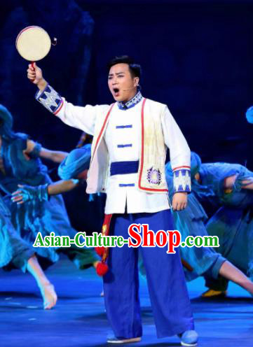 Huang Si Jie Chinese Tujia Minority Male Clothing Stage Performance Dance Costume and Headpiece for Men