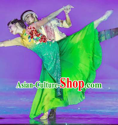 Thirteen Girls in Jinling City Chinese Classical Dance Green Dress Stage Performance Dance Costume and Headpiece for Women