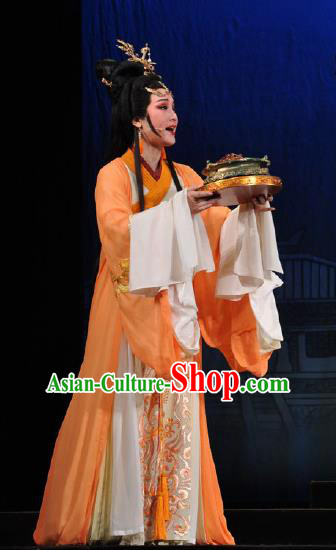 Chinese Shaoxing Opera Bronze Swallow Terrace Zhen Luo Orange Dress Stage Performance Dance Costume and Headpiece for Women