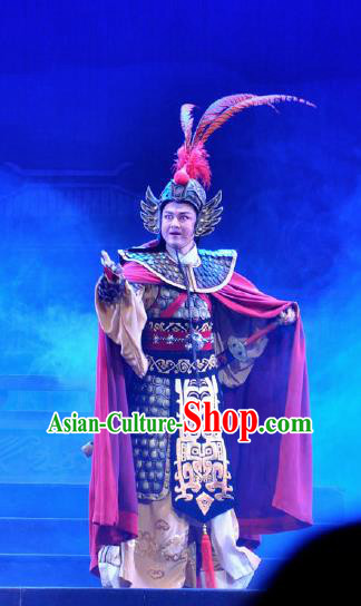 Chinese Shaoxing Opera Bronze Swallow Terrace Young General Clothing Stage Performance Dance Costume for Men