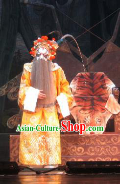 Su Wu In Desert Chinese Beijing Opera Emperor Yellow Clothing Stage Performance Dance Costume and Headpiece for Men
