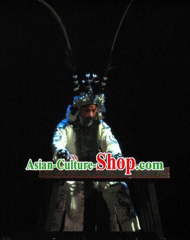Su Wu In Desert Chinese Beijing Opera General White Clothing Stage Performance Dance Costume and Headpiece for Men