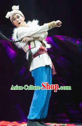 Drama Lan Huahua Chinese Shan Xi Male Clothing Stage Performance Dance Costume and Headpiece for Men