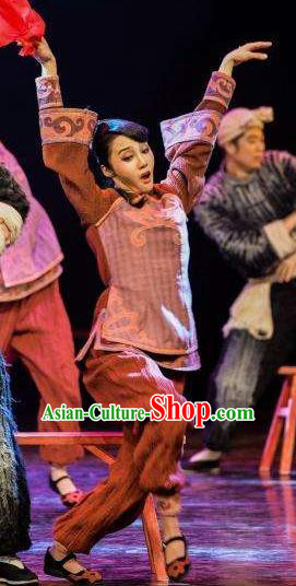 Drama Lan Huahua Chinese Folk Dance Brown Dress Stage Performance Dance Costume and Headpiece for Women